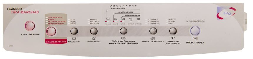 Adesivo Painel Lavadora Brastemp Advanced Wash Bwt08a